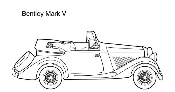 Super car Bentley Mark 5 coloring page for kids, printable