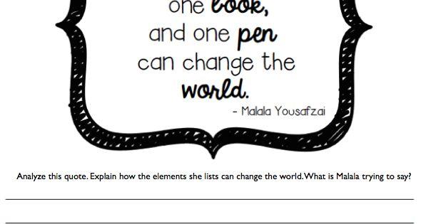 FREEBIES: Malala Yousafzai Classroom Activities. Quote