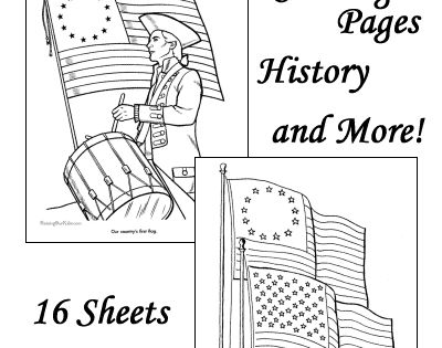 American flag coloring pages, history of the American flag