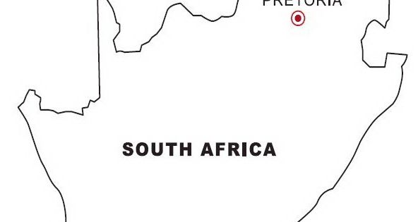 Print coloring page and book, Map of South Africa for kids