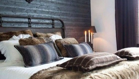 Masculine Bedroom Decor With Faux Fur Pillows And Throw Blanket Brown And Gray Wool Throw