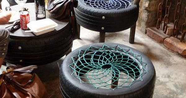 Tirebungee chairs  actually very comfy  Repurpose  Re