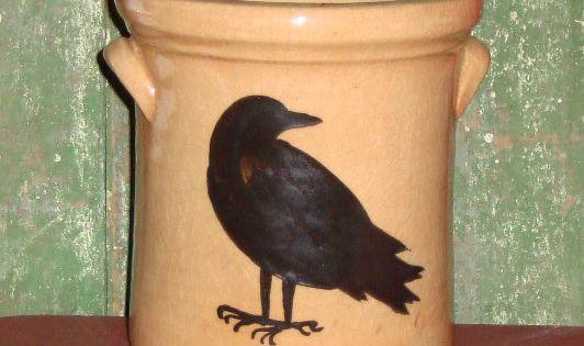 Crow Pottery Crock Untensil Wide Mouth Jug Crow CrockCrow