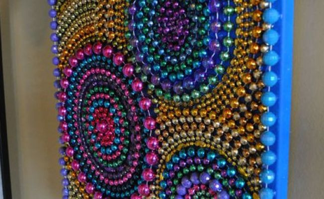 Recycled Mardi Gras Bead Art Wall Decoration By