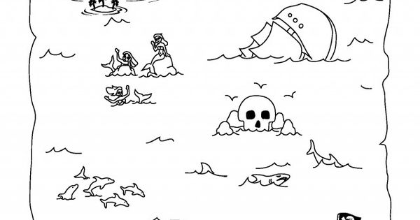 Pirate Treasure Map Coloring Page Coloring Pages Amp