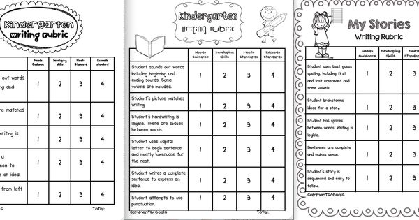 I made some rubrics specifically for kindergarteners