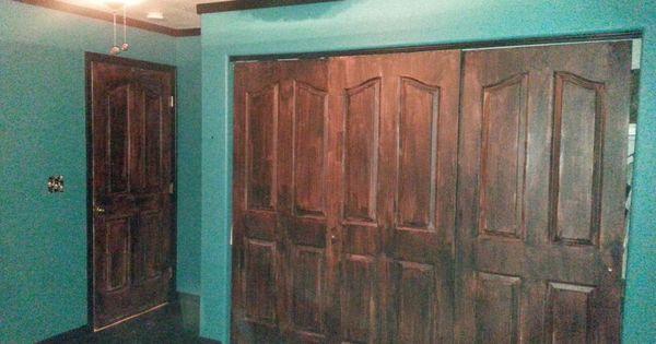 White doors given wood look Minwax Gel Stain in Brazillian Rosewood  Diy Upcycle Repurposed