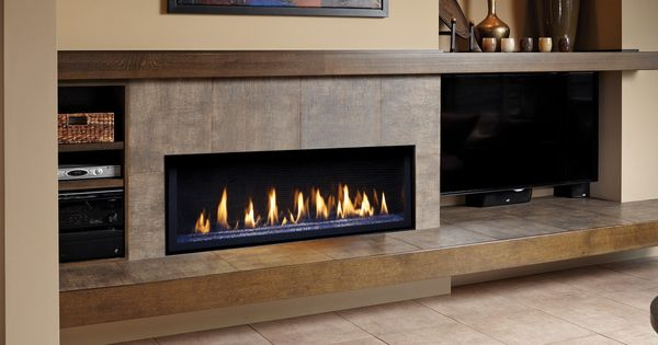 linear fireplace with long hearth and mantle  tv on the side  Fireplace  Pinterest  Linear