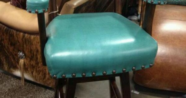 Bar Stool Turquoise  Leather Hide  Furniture Pieces I