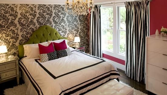 Hot Pink Green Black Teen Girl S Bedroom Design With White
