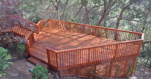 Three Level Decks And Patios On A Hillside Redwood Deck