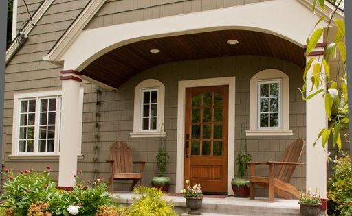 Craftsman Front Door with Pathway exterior brick floors