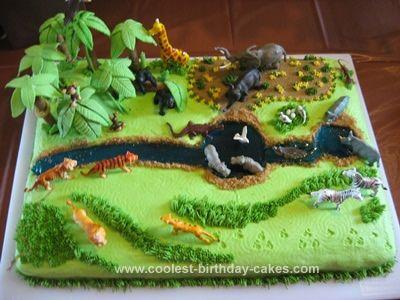 Coolest Safari Cake Safari Cakes Plastic Animals And