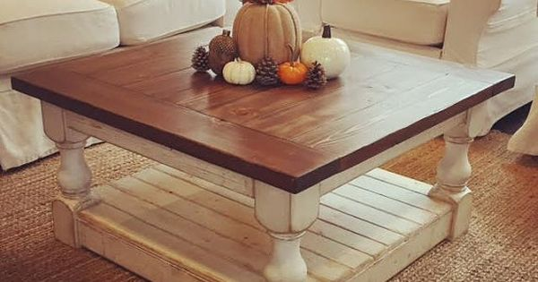 Antique White Distressed Harvest Coffee Table By