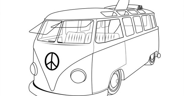 Vintage Vw Bus Coloring Coloring Pages