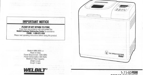 Welbilt ABM4400 Instruction Manual print two sided and