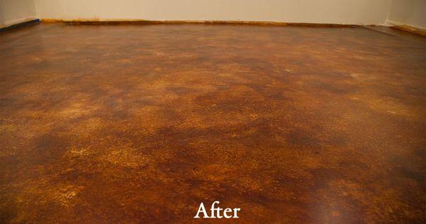 Acid Stain Basement Remodel  DirectColorscom  Concrete