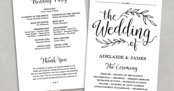 Printable Wedding Program Template, Fan Wedding Program