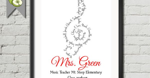 Music Teacher Appreciation gift: Personalised Thank you