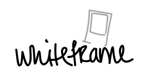 Whiteframe, custom font, logo design, Polaroid picture