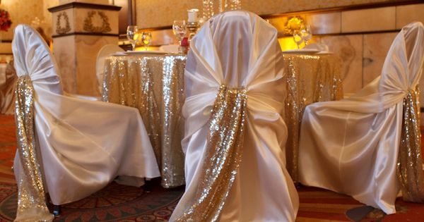 chair covers and linens denver upholstered swivel chairs for living room ivory covers, gold sequin sash. soft tablecloth. tall hot pink, coral ...