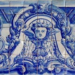 Blue Tile Backsplash Kitchen Cabinets Denver Portuguese 18th Century & White Ceramic Mural ...