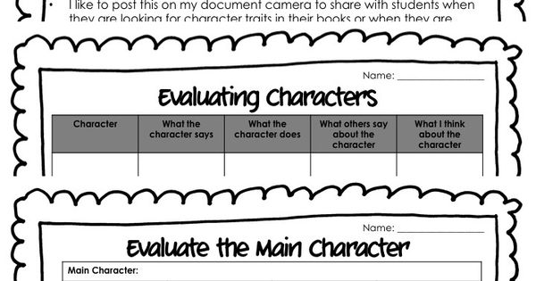 Evaluating Character Traits Graphic Organizers Common Core