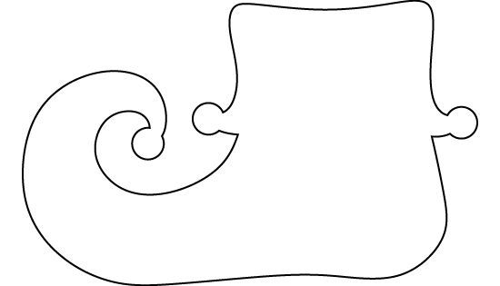 Elf shoe pattern. Use the printable outline for crafts