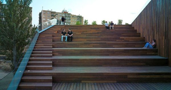 Urban Terraced Landscape With Stairs Green Design Of
