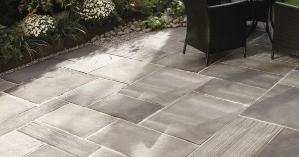 Captivating Outdoor Patio Stones and Pavers from Grey Stained Concrete Floor Tiles also A Set of