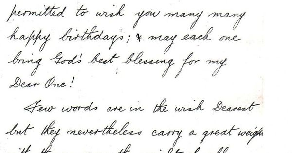 A Message of Love and Birthday Wishes, 1907. A love letter