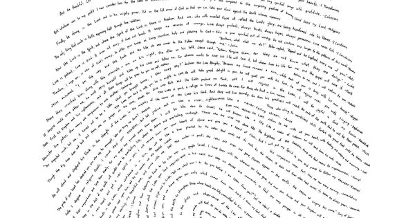 A hand-drawn fingerprint with one verse from every book of