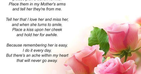 If Roses Grow In Heaven Poem Mom Memorial Card