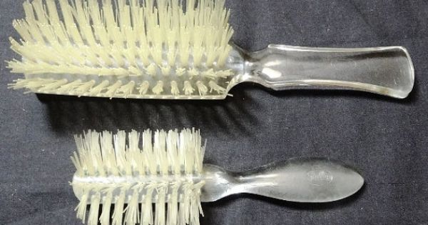 Vintage 1960s Pair of Fuller Brush Hair Brushes with Clear