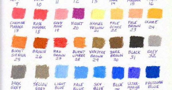 Color chart for 48 Holbein Academic student grade oil pastels. | 101: oil pastels | Pinterest | Pastels and Oil
