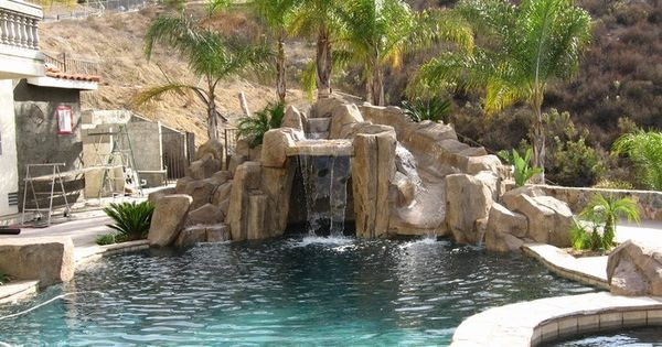 Artificial rock slides for swimming pools  For the Home  Pinterest  Artificial rocks