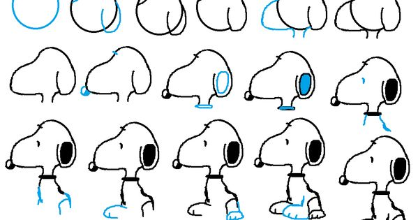 How To Draw Snoopy The Dog Face And Body. Easy Free Step