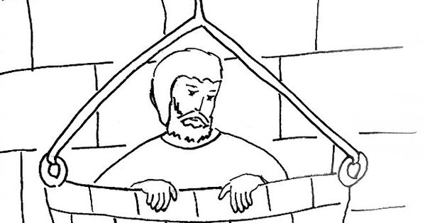 Bible Story Coloring Page for Saul (Paul) Escapes in a