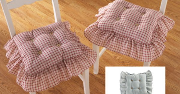 Plaid Ruffled Kitchen Chair Cushions  Set of 2  Kitchen