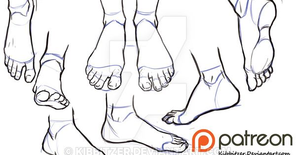 Feet reference sheet by Kibbitzer.deviantart.com on