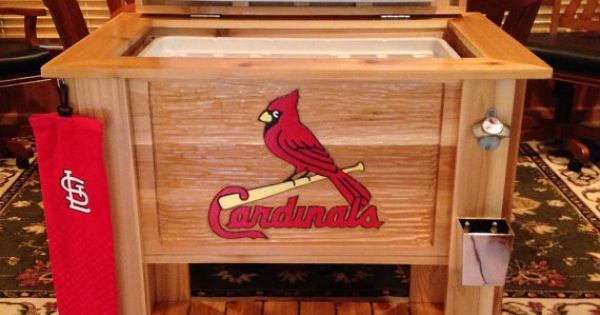 Custom cedar wood cooler with hand carved MLB St Louis Cardinals front panel  Crafts