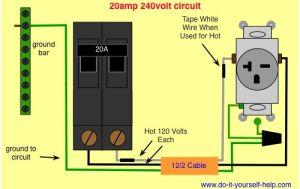 wiring diagram 20 amp 240 volt circuit | shop wiring