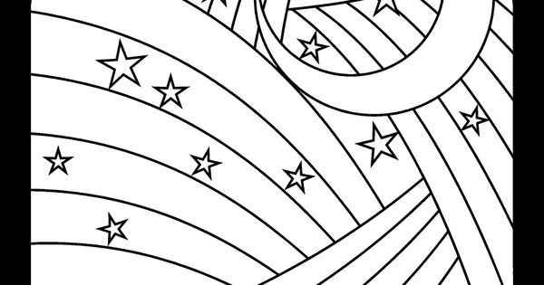 Rainbow, moon and stars coloring page- available in jpg