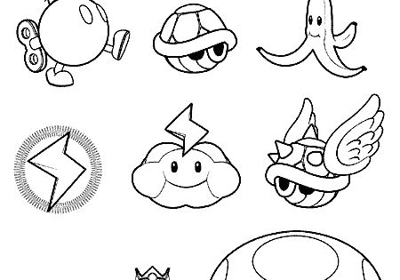 Mario Kart items coloring pages (character templates