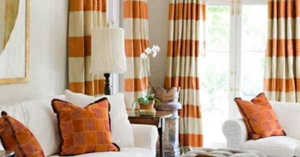 Orangebeige Curtains Living Room Stripes Pinterest Ottomans Patterns And Living Rooms