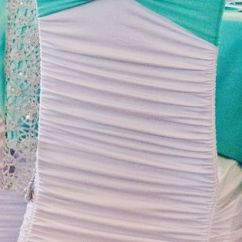Ruched Chair Covers Big Joe Bean Bag Chairs White Cover, Tiffany Blue Spandex Sash, And Silver Bling Cuff | 2015 Events ...