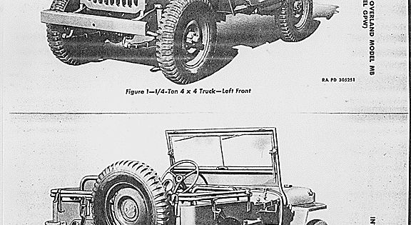 Drawing of MB/GPW jeep from TM 9-803, dated 22 February