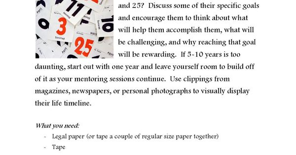 Help your mentee set some goals by mapping out a timeline