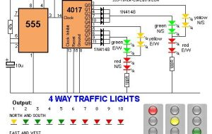 4 way Traffic Lights Diagram | Electronic Circuits