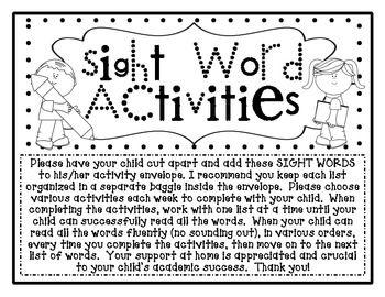 AT HOME Sight Word Kindergarten Homework Activities